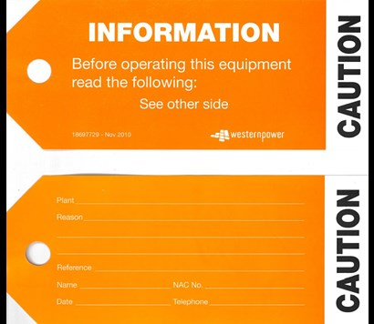 Both sides of the Information | Caution tags.